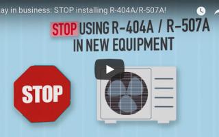 Stop met het installeren van R-404A en R-507A!  Bekijk de video op het videokanaal van AREA